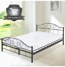 Fém ágykeret ágyráccsal 140*200 cm - fekete