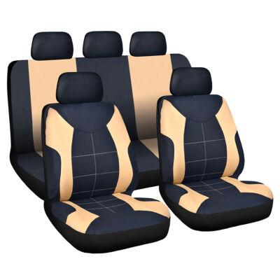 Autós üléshuzat szett - drapp / fekete - 9 db-os - HSA008